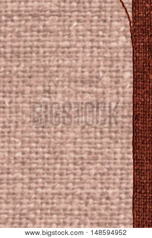 Textile weft, fabric space, rust canvas, jutesack material flat background