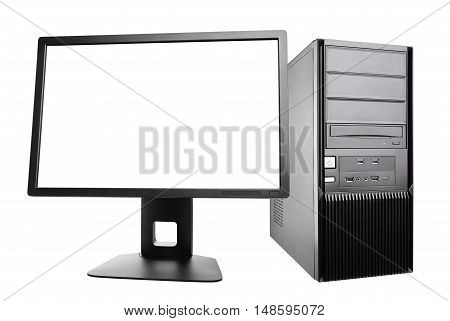 desktop computer with a monitor. workstation isolated on white