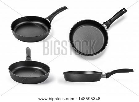 black frying pan from different angles isolated on a white background