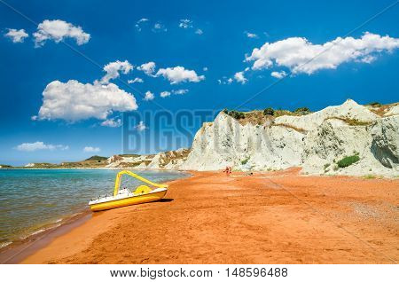 Xi Beach, Kefalonia Island, Greece. Beautiful view of Xi Beach, a beach with red sand in Kefalonia, Ionian Sea.