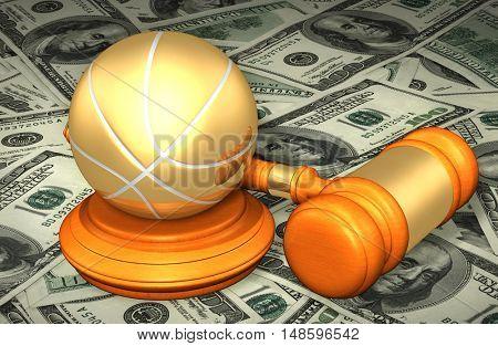 Basketball Legal Gavel Concept 3D Illustration