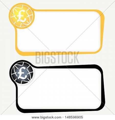 Set of two vector text frames and pound sterling