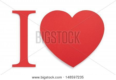 paper red heart isolated on white. text slogan element for design