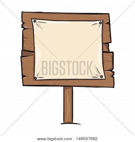 Vector Single Cartoon Wooden Signpost