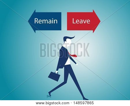 Leave Or Remain Direction Arrows On A Signpost As A Concept For Decision Making. Vector Flat