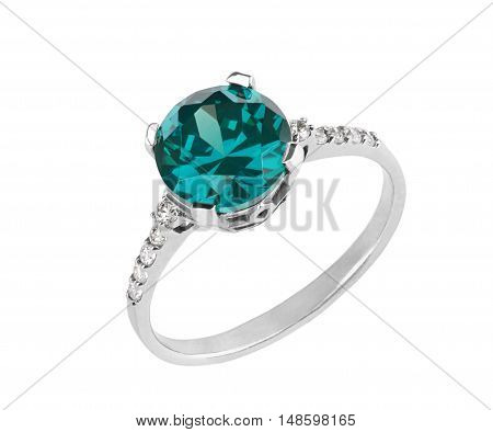 women's jewelry beautiful Silver Ring with blue topaz detailed gemstone closeup isolated on white