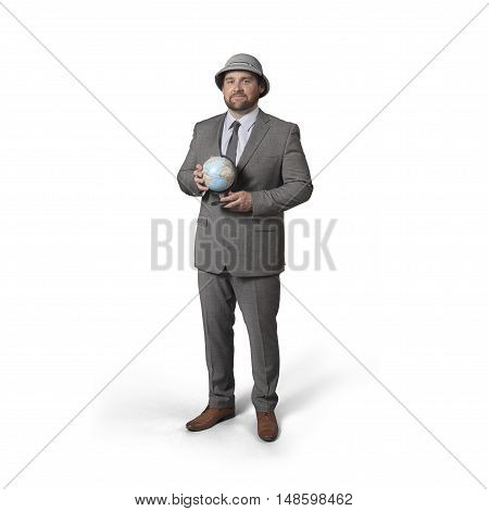 Explorer businessman holding earth on hand with empty background