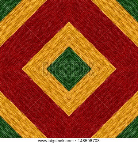 Reggae colors crochet knitted style background top view. Collage with mirror reflection. Seamless kaleidoscope montage for cushion blanket pillow plaid tablecloth cloth bed cloth