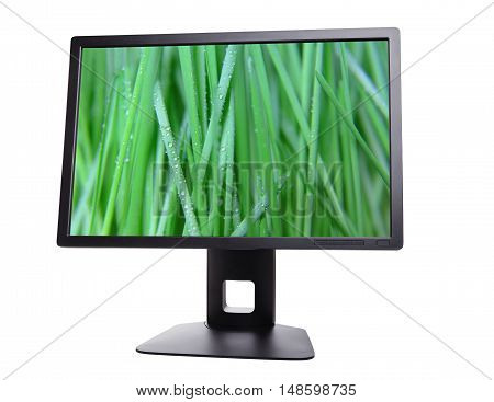 black monitor with the image enable computer monitor isolated on white