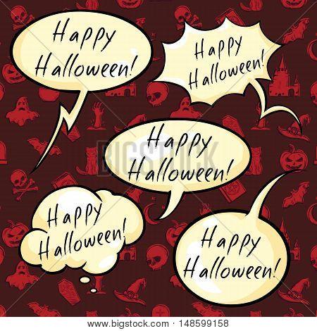 Vector Set Of Happy Halloween Bubbles