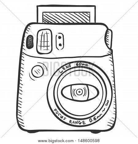 Vector Sketch Photo Camera. Front View.