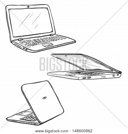 Vector Set Of Sketch Laptops. Closed And Open. Back And Front View.