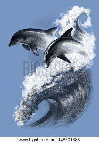 Two dolphins on a wave. Pencil drawing hand picture