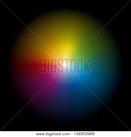Iridescent aura - vector illustration on black background.