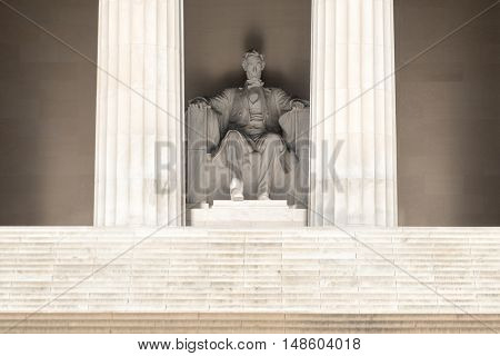 The Abraham Lincoln Statue at the Lincoln Memorial in Washington D.C.