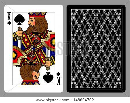 King of Spades playing card and the backside background. Colorful original design. Vector illustration