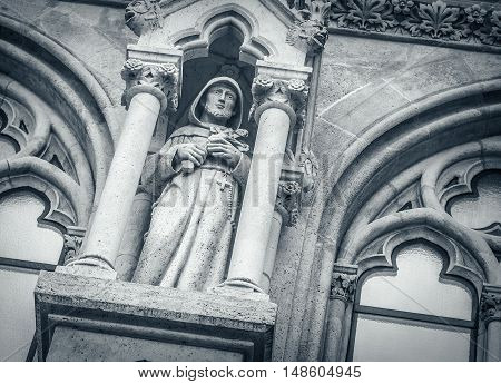 Medieval of gothic sculpting of the temple, close-up.