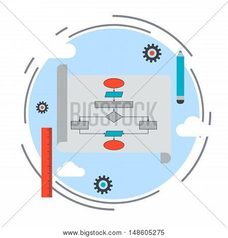 Application development, program coding, SEO process, algorithm optimization flat design style vector concept illustration
