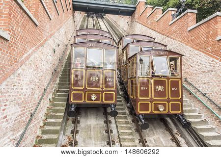 BUDAPEST, SEPTEMBER 18: Modular cabins cable car on Castle Hill on September 18, 2016 in Budapest, Hungary.