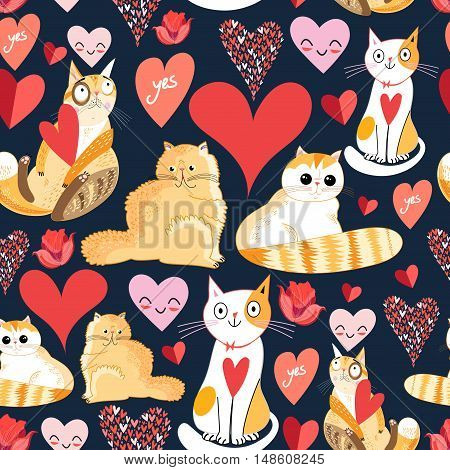 Seamless bright pattern with lovers cats and hearts on a dark background