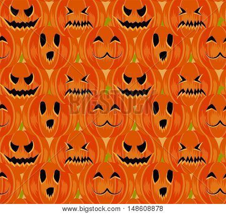 Halloween symbols 4 emotions pumpkin seamless pattern, trendy flat style illustration. Cute fun october pumpkins: evil smile, sorrow, fear, kawaii. Jack-o'-lantern sign