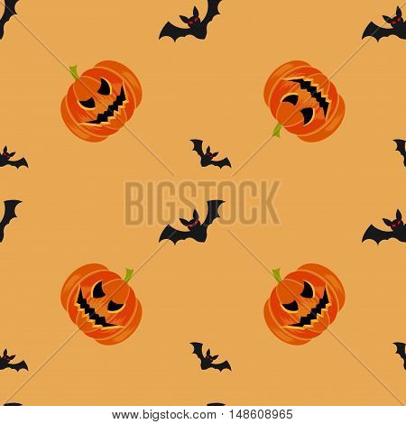 Halloween symbols pumpkin and bats seamless pattern on orange background, trendy flat style illustration. Cute fun evil smiling october pumpkins, jack-o'-lantern sign