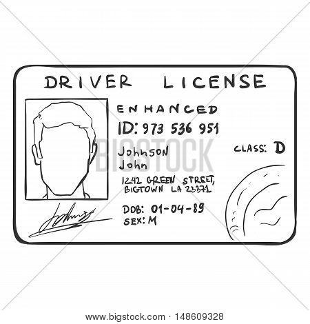 Vector Single Sketch Drivers Licence