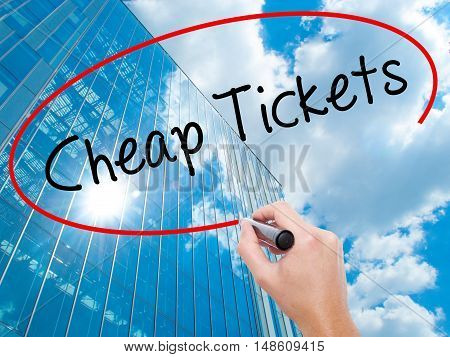 Man Hand Writing Cheap Tickets With Black Marker On Visual Screen