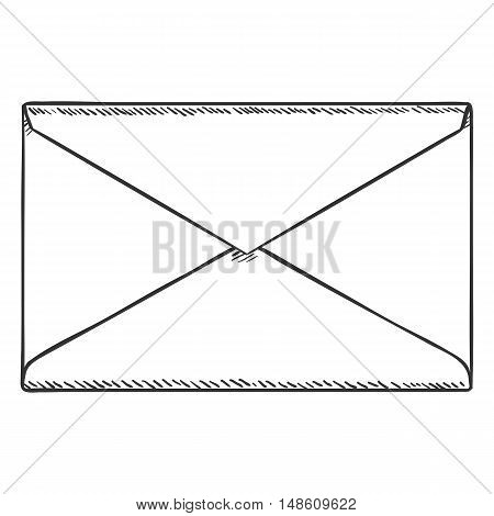 Vector Single Sketch Closed Postal Envelope