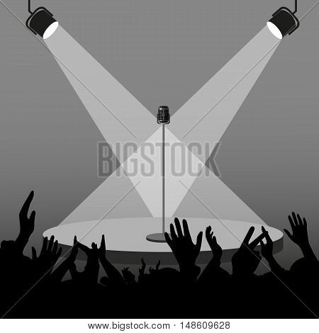 Silhouette stage with a microphone and lighting equipment before the concert the audience meets a singer