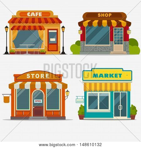 Market, street shop, cafe building facade set, small store front, shopping design detailed illustration. Vector