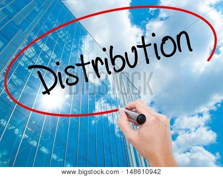 Man Hand Writing Distribution With Black Marker On Visual Screen