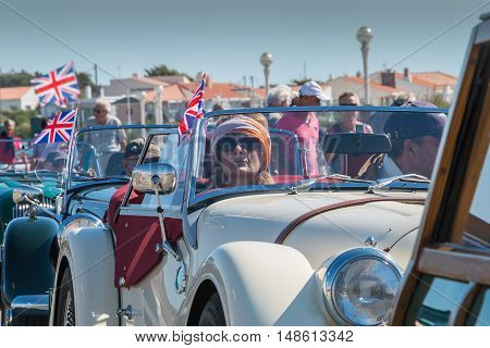Sables d Olonne France - September 23 2016 : English vintage car rally in the streets of the city