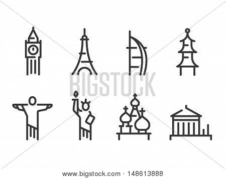 Landmarks icons set world capitals symbols. Paris and London Moscow and New York Dubai and more. Line vector icons.