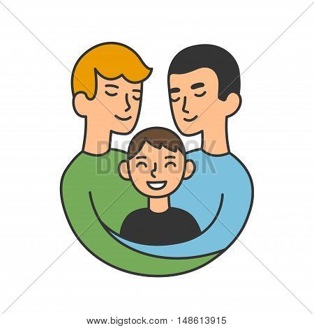 Cute cartoon gay couple with son. Same sex family illustration.