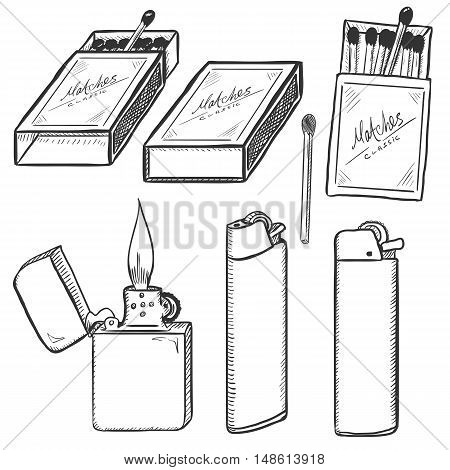 Vector Sketch Set Of Matches, Matchboxes And Lighters.