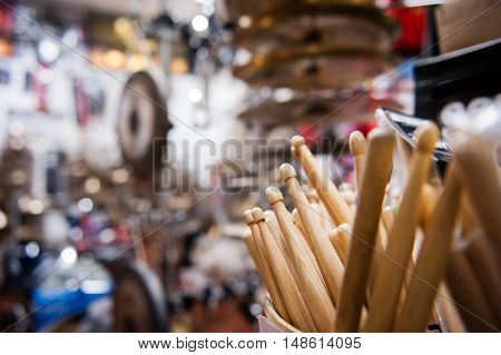 Drum Sticks Close Up In Drum Store