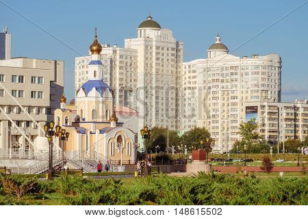 BELGOROD RUSSIA - SEPTEMBER 10 2016: General view of the residential complex temple of Archangel Gabriel promenade main building and observatory of the International of the Belgorod State University. Campus.