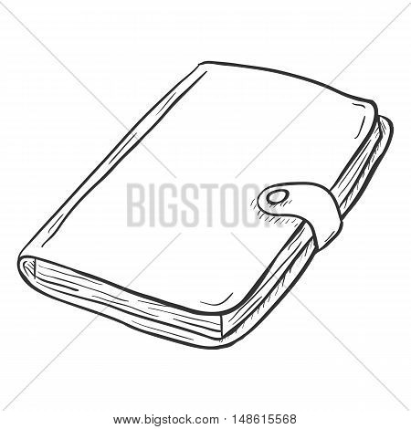 Vector Single Sketch Diary on White Background poster