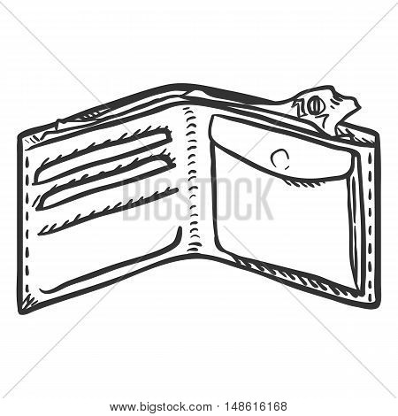 Vector Single Sketch Open Wallet