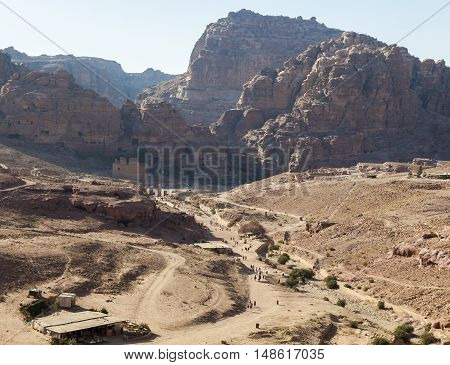 PETRA JORDAN - OCTOBER 28 2014: Top View of Petra Valley from the platform in front of the Urn Tomb.