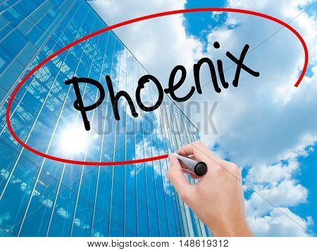 Man Hand Writing Phoenix  With Black Marker On Visual Screen