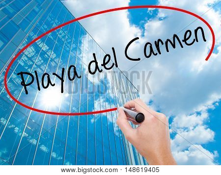 Man Hand Writing Playa Del Carmen With Black Marker On Visual Screen