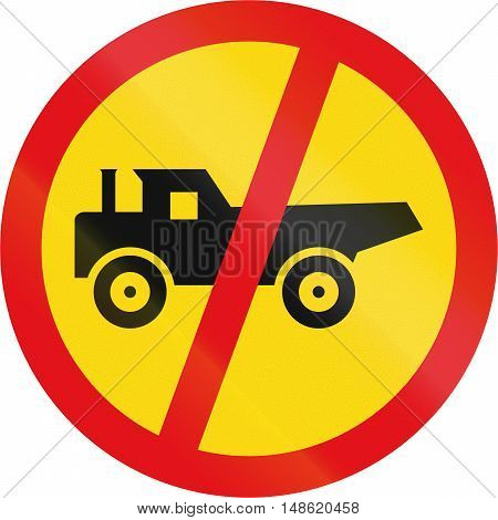 Temporary road sign used in the African country of Botswana - Construction vehicles prohibited. poster