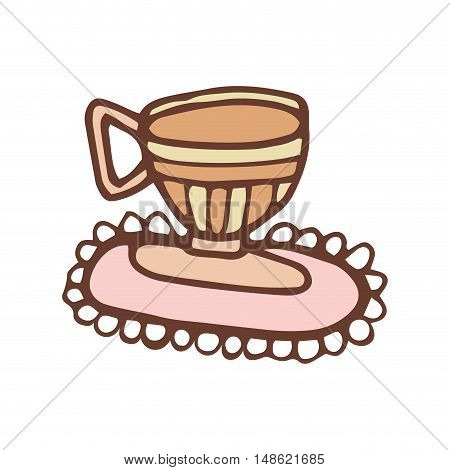 coffee mug beverage. caffeine drink. hand drawn design vector illustration