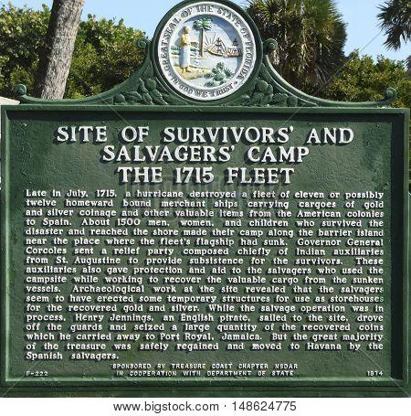 VERO BEACH, FLORIDA - NOVEMBER 1: At McLarty Treasure Museum, part of Sebastian Inlet State Park at Vero Beach, a historic marker tells of the survivors of a Spanish treasure ship, November 1, 2015.