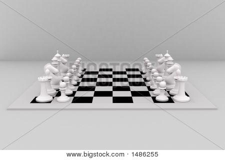 3D image of white VC white chess set poster