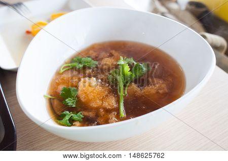 fish maw soup or fish lip soup