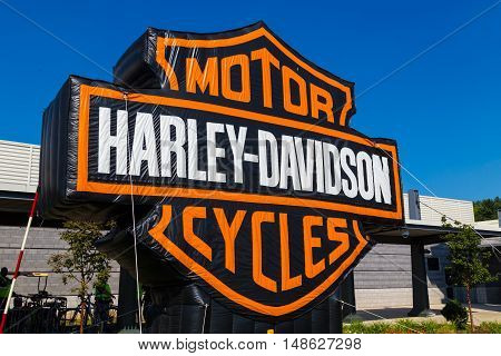 York PA - September 23 2016: A large blow up sign at the annual Harley-Davidson Factory Open House.