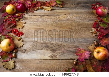 Frame of apples acorns berries and fall leaves on dark wooden background. Thanksgiving background with seasonal berries and fruits. Abundant harvest concept.